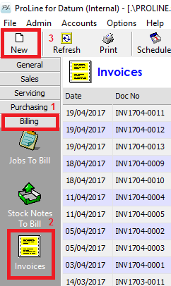 Creating Invoices ProLine Documentation - Invoice to go customer service