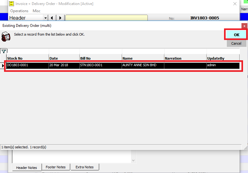at the invoice bill items tab will appear data from the invoice and the delivery order